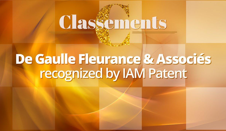 IAM PATENT 2021 – De Gaulle Fleurance & Associés is one of the best patent law firms